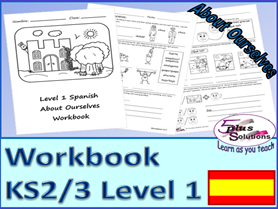 SEVEN SHEET PRIMARY KS2/3 SPANISH COPIABLE WORKBOOK:Greetings, name, descriptions, colours, nos etc.