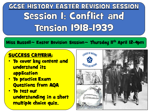 AQA History Conflict and Tension 1918-1939 Revision Lesson