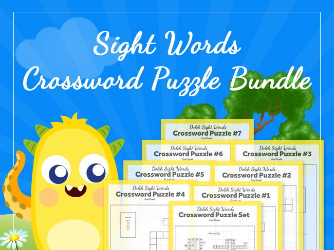 1st Grade - Dolch Sight Words Crossword Puzzle BUNDLE (7 puzzles)