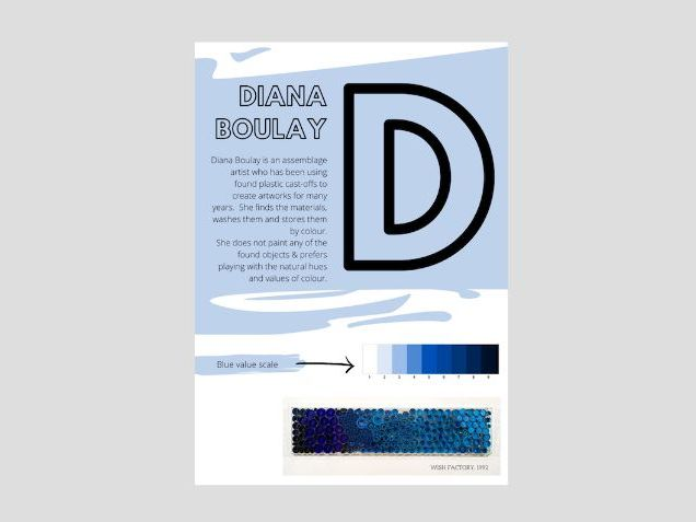 Artist A to Z | D | Diana Boulay | Found Objects Value Scale