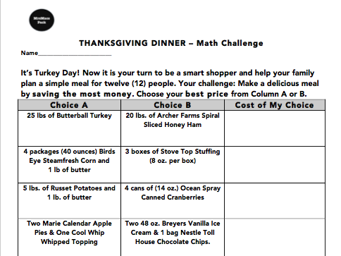 Thanksgiving Dinner Math Challenge