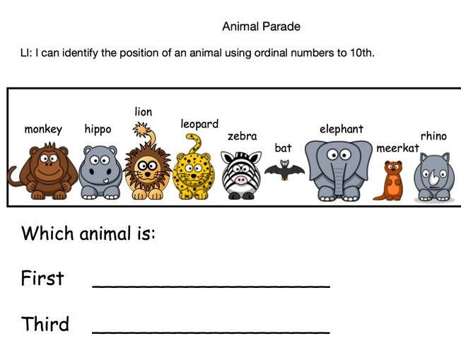 Animal Parade Worksheet (Ordinal Numbers)