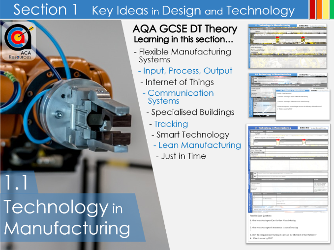 AQA GCSE DT 1.1 Technology in Manufacturing