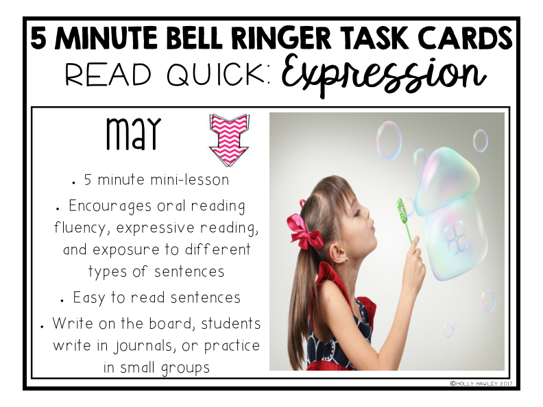 Read Quick Bell Ringer Task Cards-MAY