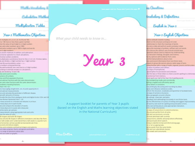 Year 3 Parent Support Booklet - English & Maths