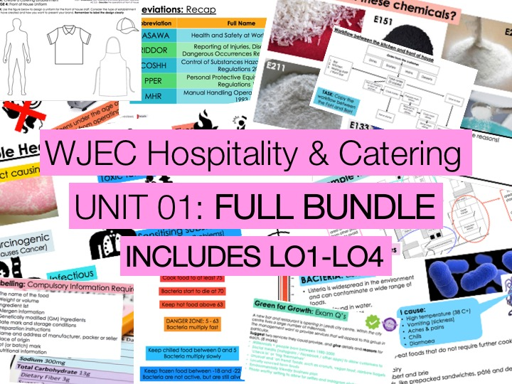 WJEC KS4 Hospitality & Catering UNIT 01 - ALL LOs Lessons BUNDLE