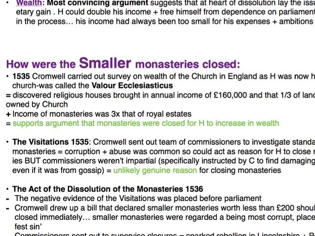 A Level History Tudors Revision resources: Religious changes/Opposition/Dissolution of monasteries