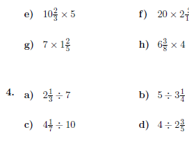 Operations between whole numbers and mixed numbers  worksheet (with solutions)
