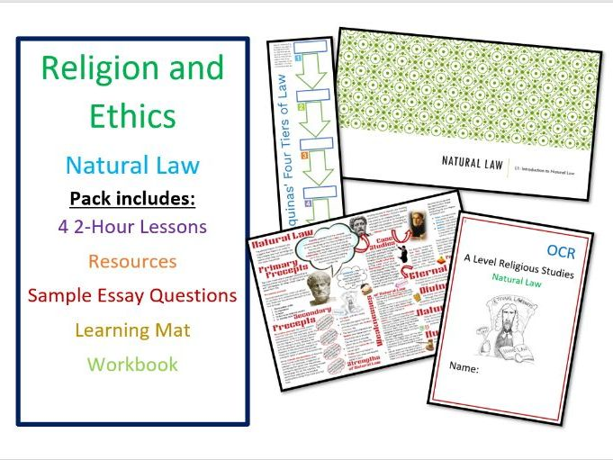 Religion and Ethics: Natural Law Unit of Lessons, inc Revision and Workbook