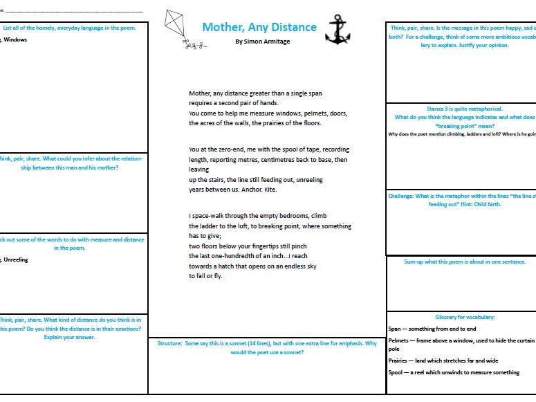 KS3 Mother, Any Distance Simon Armitage A3 worksheet and PPT