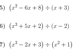 Long division of polynomials worksheet (with solutions)