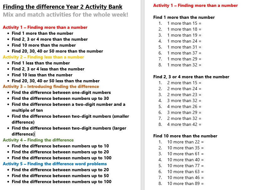 Finding the difference Year 2 Activity Bank (Differentiated)