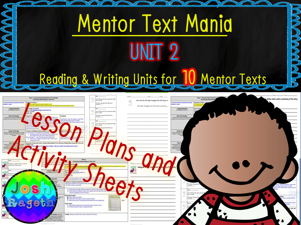 Read Aloud Lesson Plan and Activities Bundle (Mentor Text Mania Unit 2)