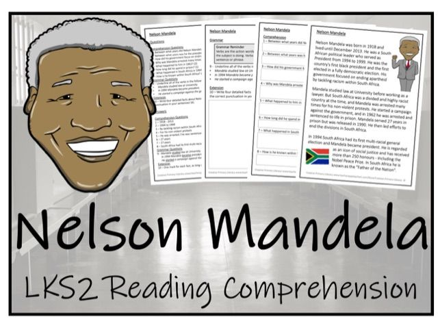 LKS2 History - Nelson Mandela Reading Comprehension Activity