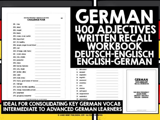 GERMAN ADJECTIVES RECALL WORKBOOK #1