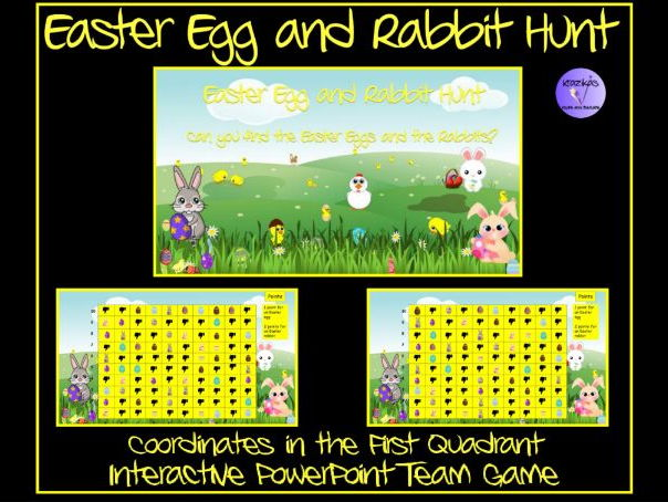 Easter: Egg and  Easter Rabbit Hunt - Coordinates in First Quadrant PowerPoint Team Game