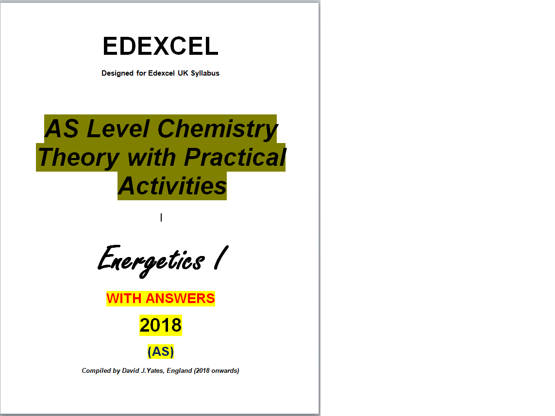 Edexcel Kinetics I Theory and Practical Activities