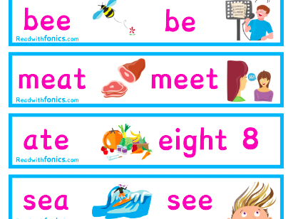 Homophone Flash Cards Phase 6 Phonics Letters and Sounds