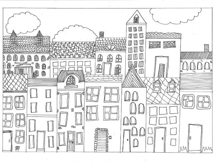Town, City, and Settlement Colouring Page