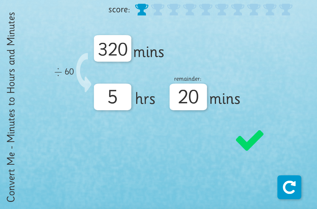 Time Conversion: Minutes to Hours - Interactive Activity - KS2 Measurement