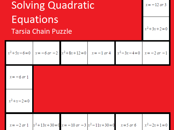 Solving Quadratic Equations Tarsia Puzzle - GCSE Mathematics