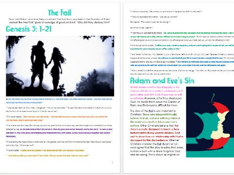 Genesis: The Fall: Differentiated Information and Activity Sheets
