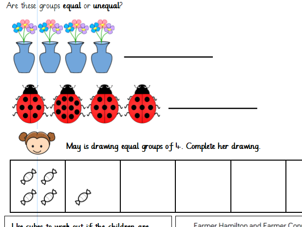 Making Equal Groups of Objects Year 1 Differentiated Worksheets (White Rose)