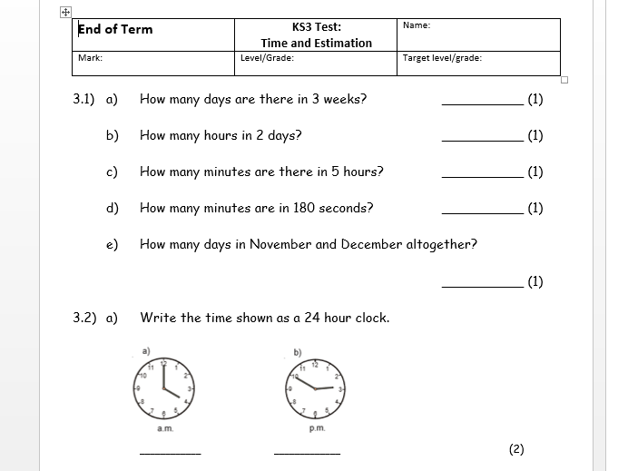 Topic tests - KS3