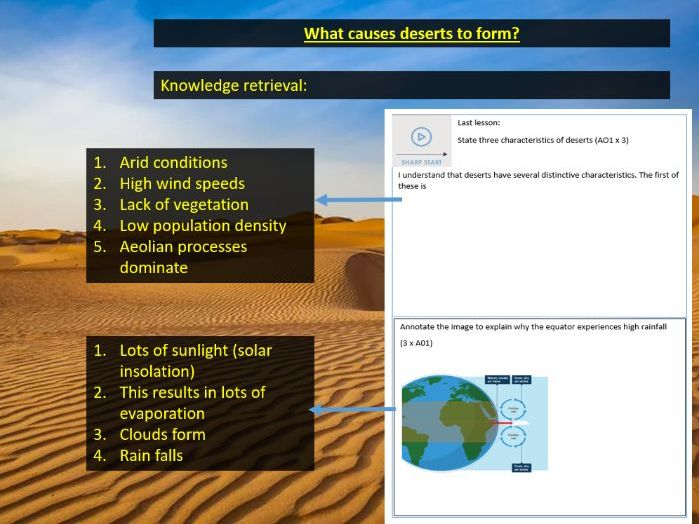 The Characteristics and Formation of Deserts GCSE Geography Paper 1 *3 60 Minute Lessons*