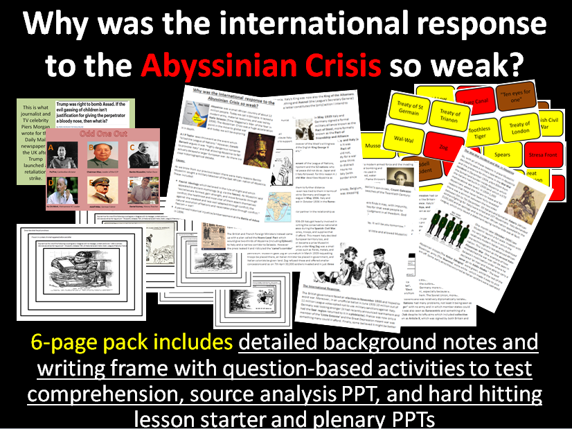 Abyssinian Crisis - 6-page full lesson (starter, notes, source analysis tasks, charades, plenary)