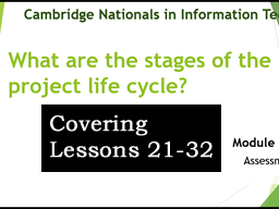 OCR CAMBRIDGE NATIONAL in INFORMATION TECHNOLOGIES LEVEL 1/2 (Lessons 21-32)