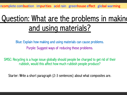 Year 9 Problems with Materials lesson (9Ed)