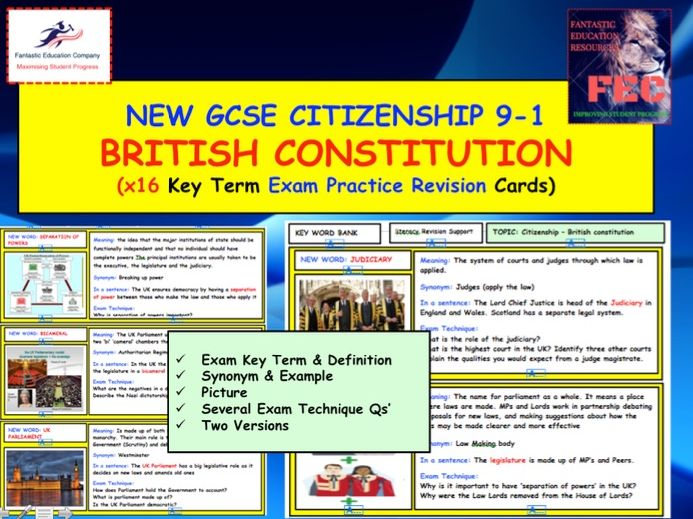 British Constitution GCSE Citizenship Revision Cards x16