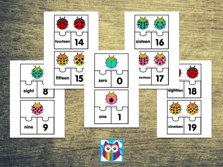 Ladybird Matching Number Puzzles 0 to 20