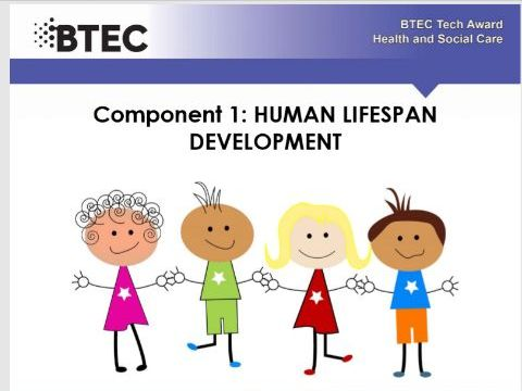 Human lifespan development - BTEC Health and Social care. Work booklet .  Part 6 of a series of 6.