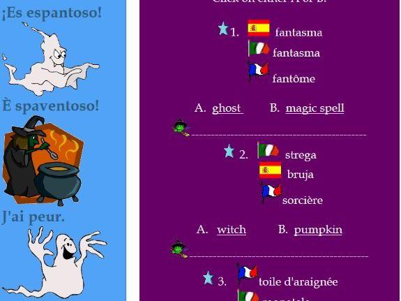 Halloween Vocabulary in French, Spanish, Italian