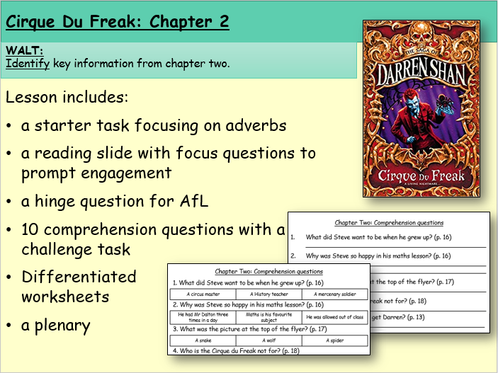 Cirque du Freak: Chapter Two (Reading and Comprehension)