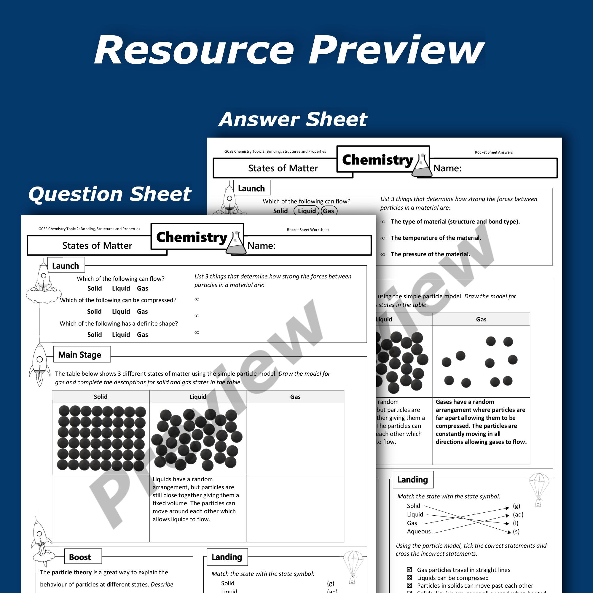 States of Matter Home Learning Worksheet GCSE  Teaching Resources Within States Of Matter Worksheet Pdf