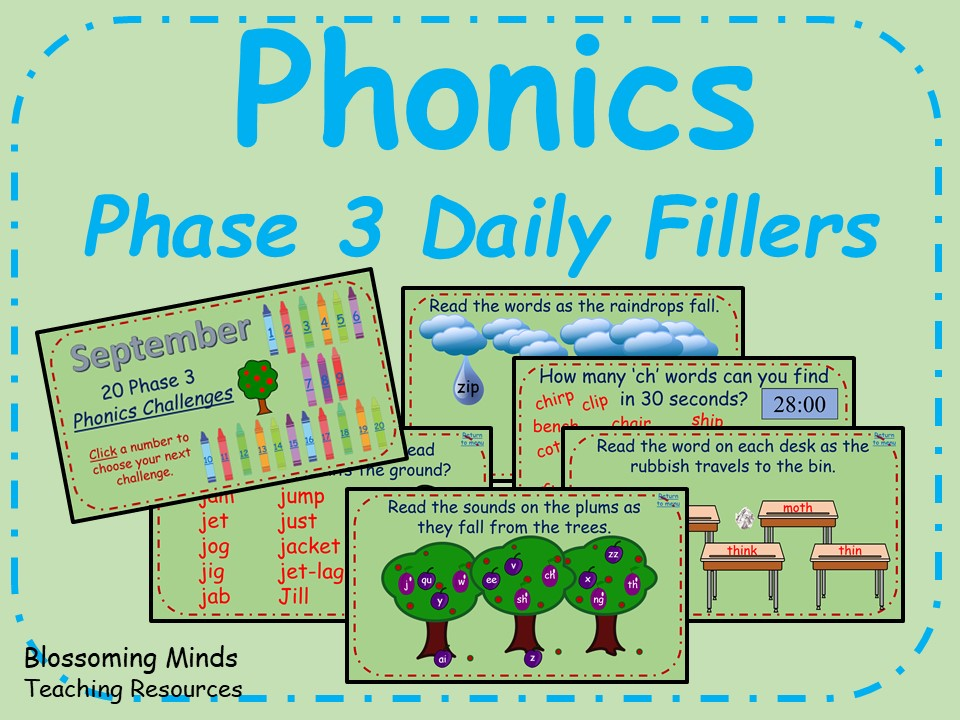 Phonics phase 3 filler activities