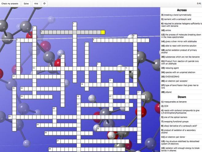 Organic revision crossword