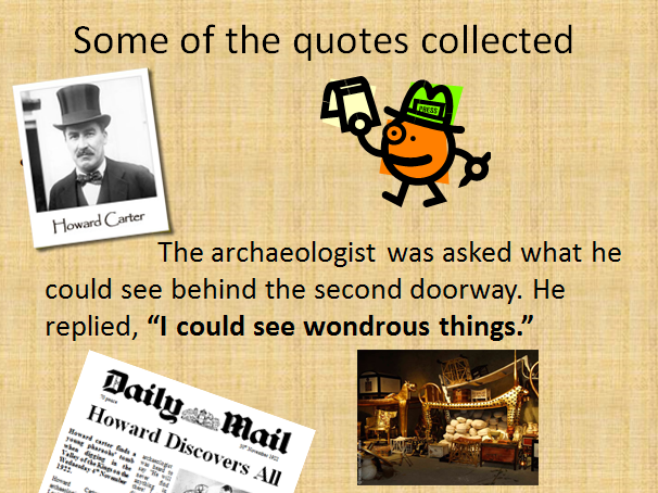 Howard Carter Quotes in a Newspaper Lesson
