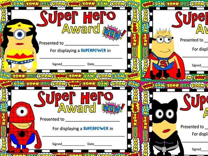 Superhero awards/certificates