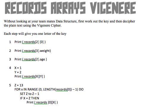 IGCSE Computer Science Records, Arrays, 2D arrays Tasks