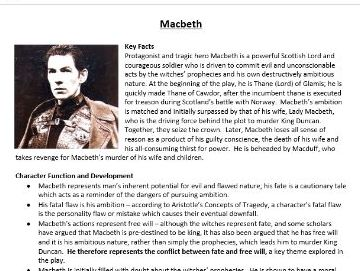 Macbeth Detailed Character Revision Booklet