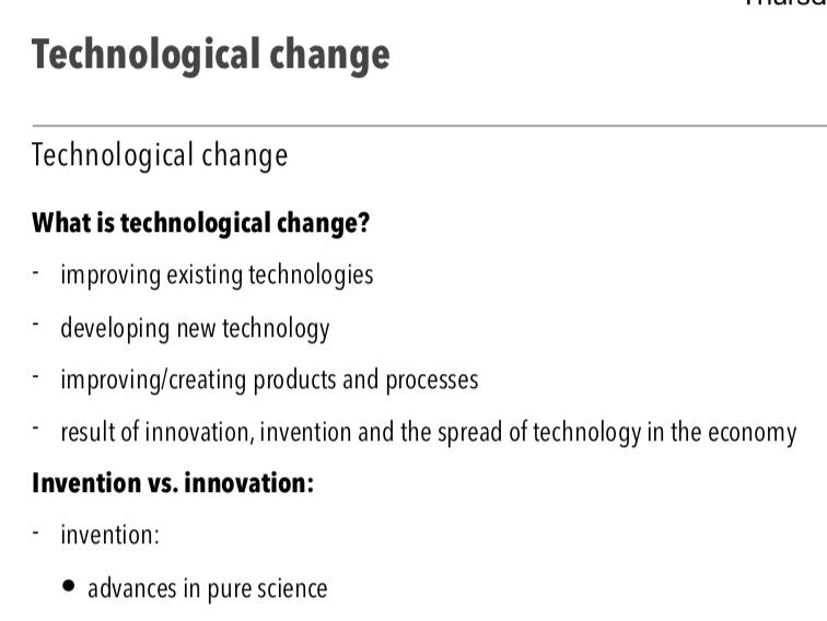 Technological Change - A Level Economics