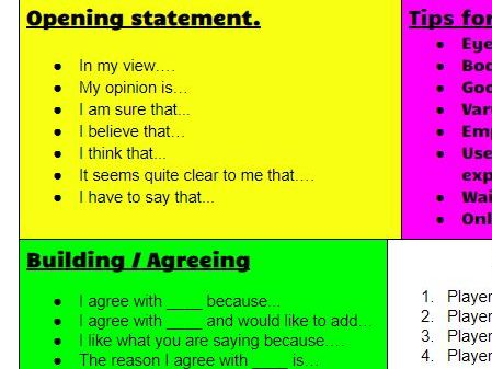 Oracy and debate sentence stems. Print our for display or as individual cards.
