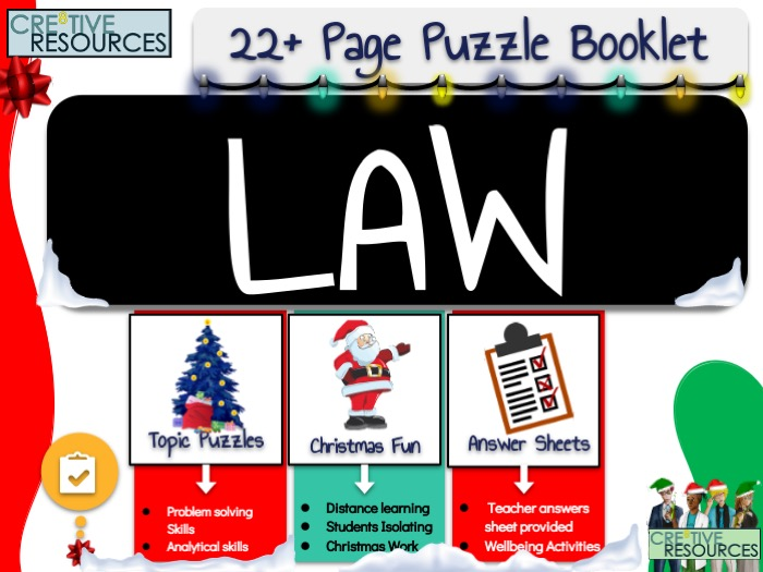 Christmas Law Puzzle Work Book