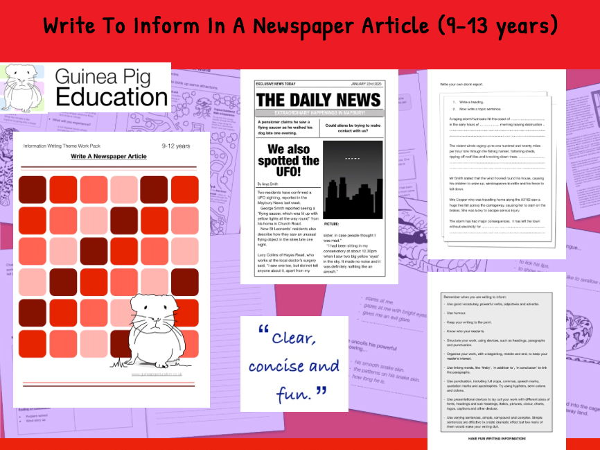 Practise Writing To Inform In A Newspaper Article (Information Writing) 9-14 years