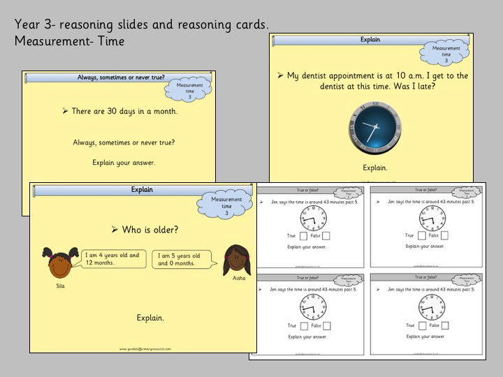 Reasoning slides and cards- measurement/ time - year 3