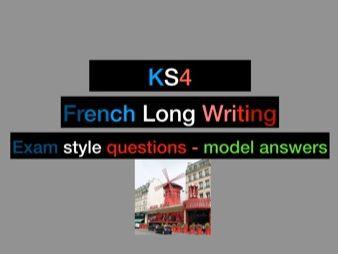 French GCSE/IGCSE long writing revision (Grade 9 model answers +10 topics!)
